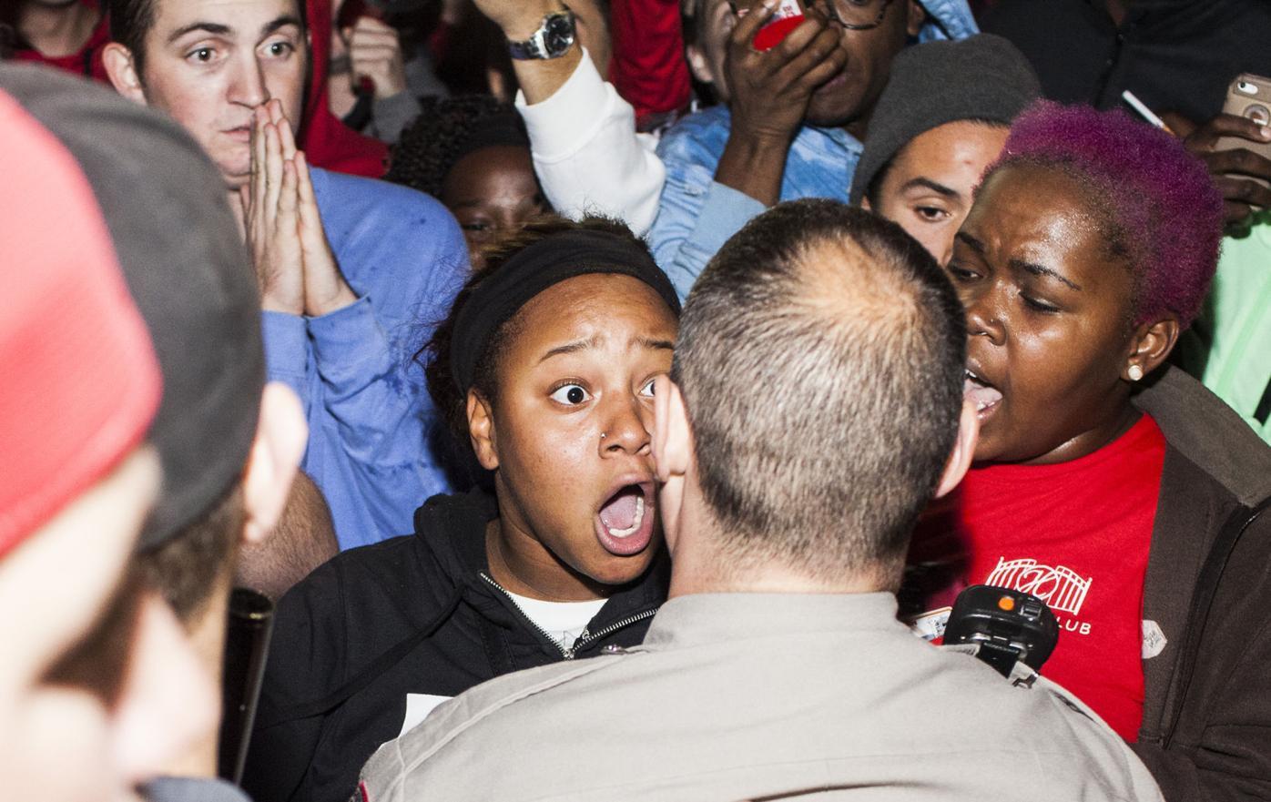 Anti-Trump protestors and Trump supporters clash at WKU