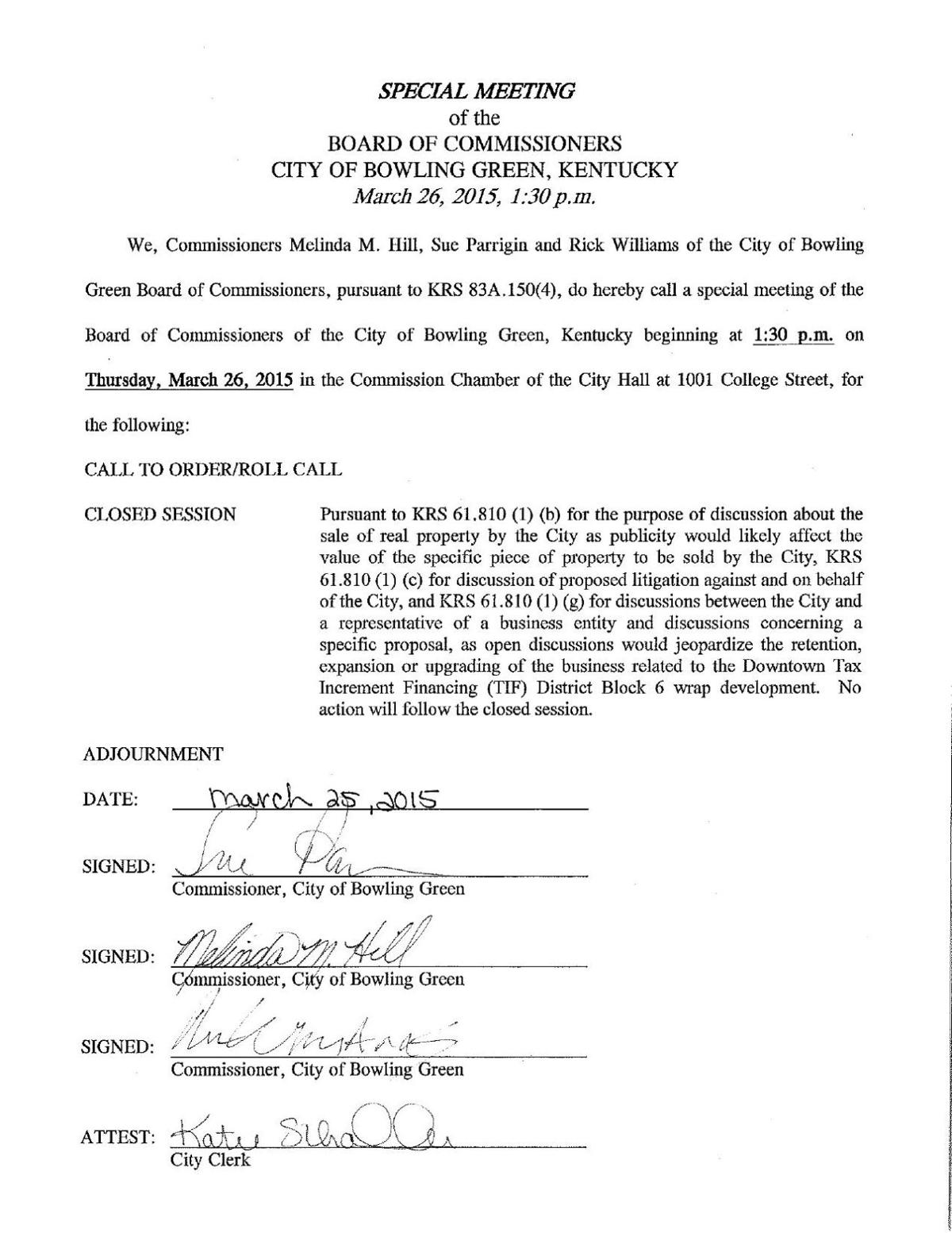 Special Meeting City Commission