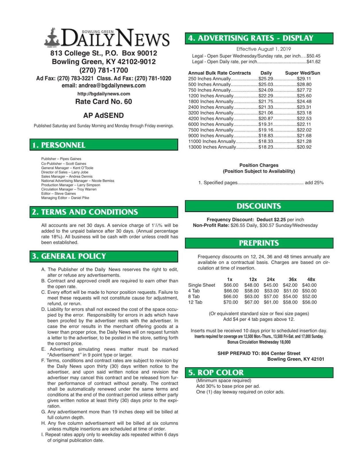 DN Local Print Rate Card