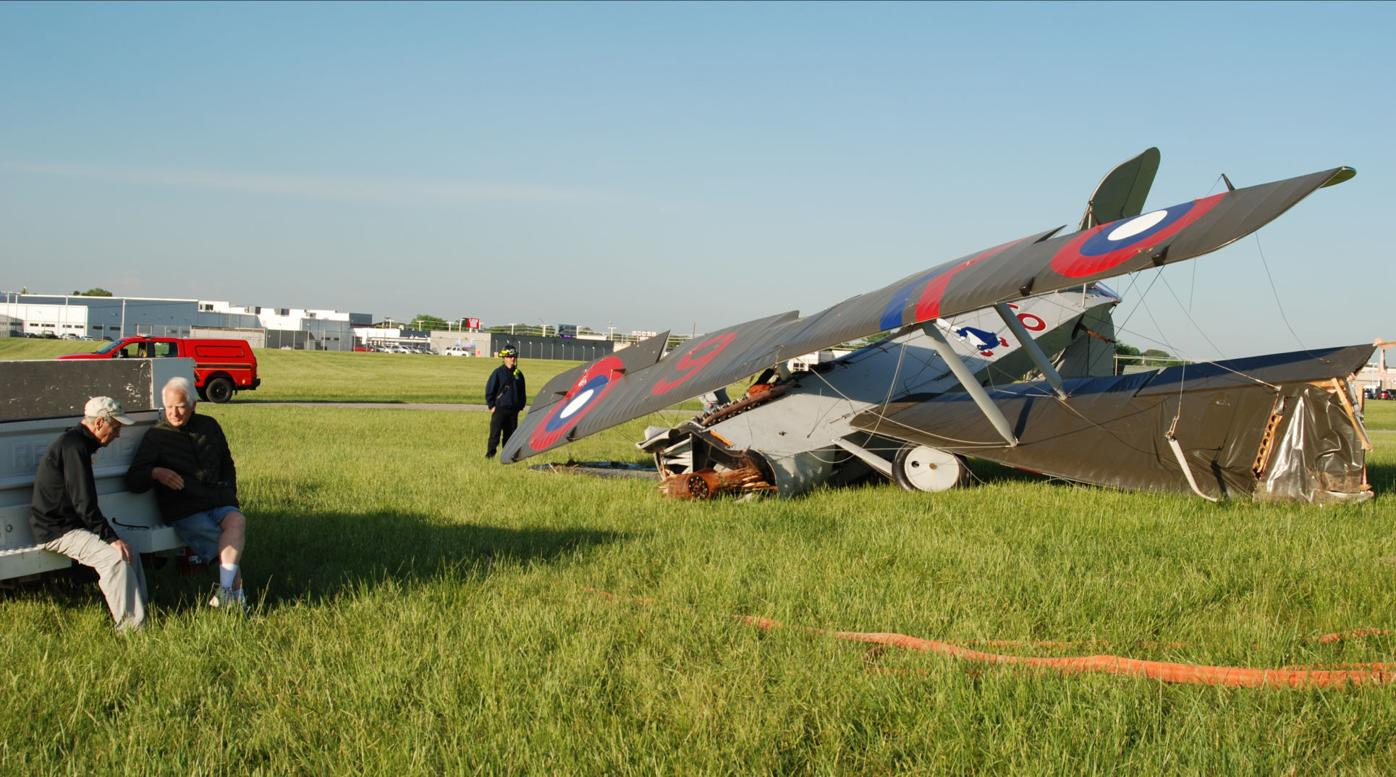 Pilot walks away from crash of WWI biplane