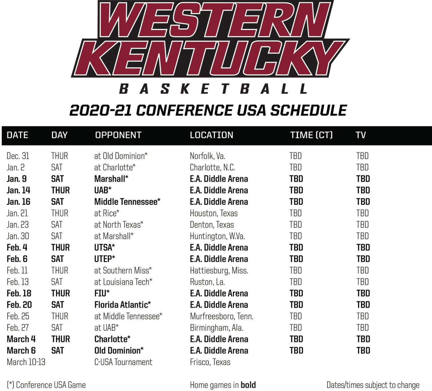 WKU 2020-21 men's basketball schedule