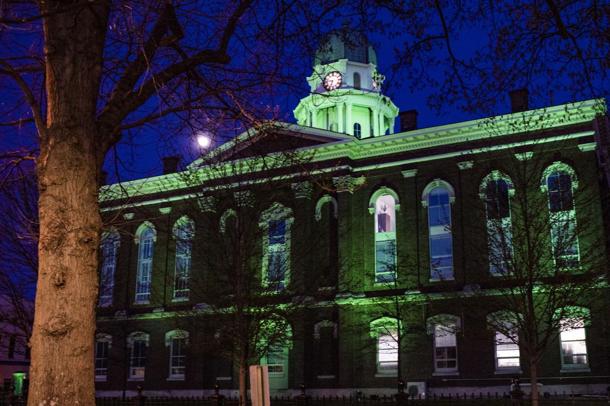 Cherry Hall, County Court House lit up green