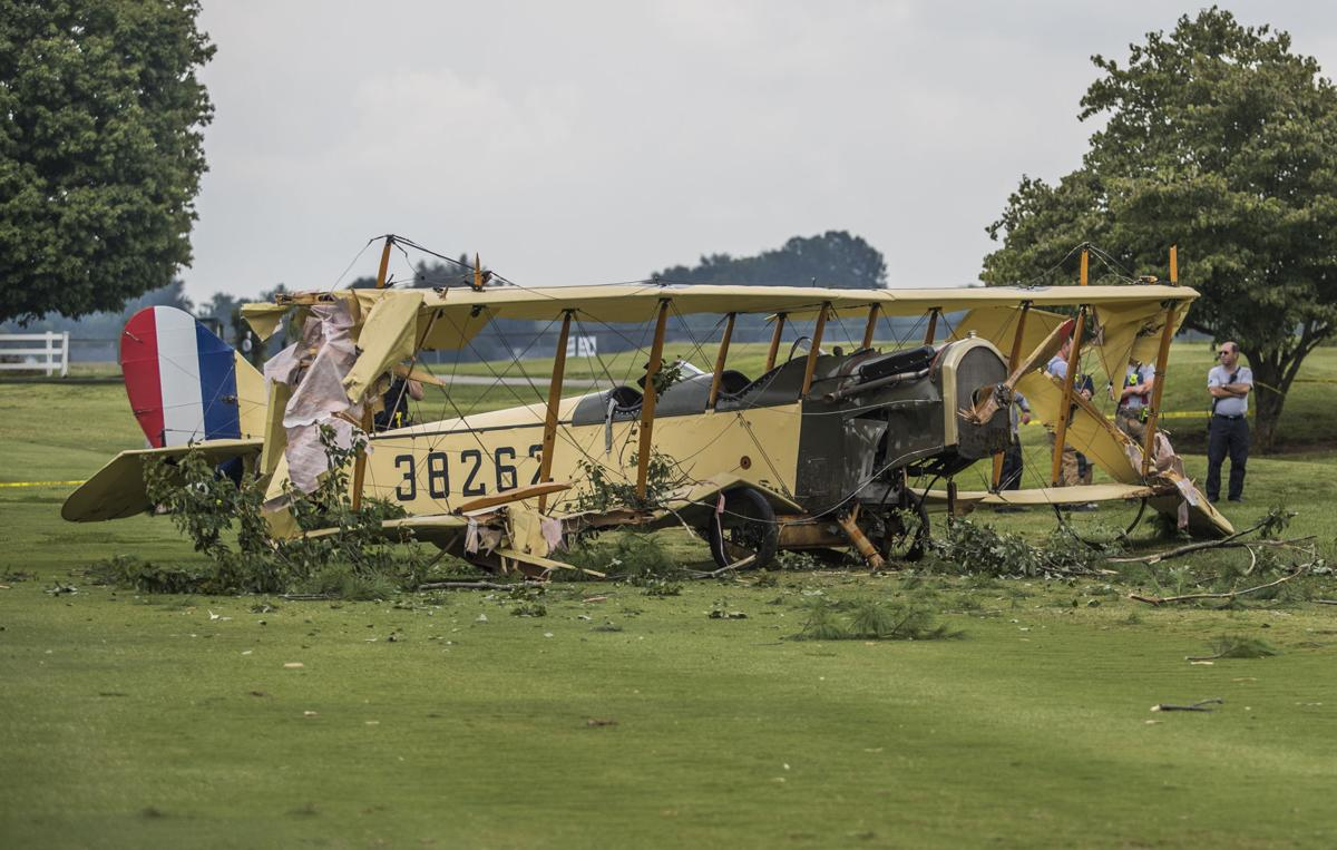 Curtiss JN-4 Jenny biplane crashes at CrossWinds Golf Course