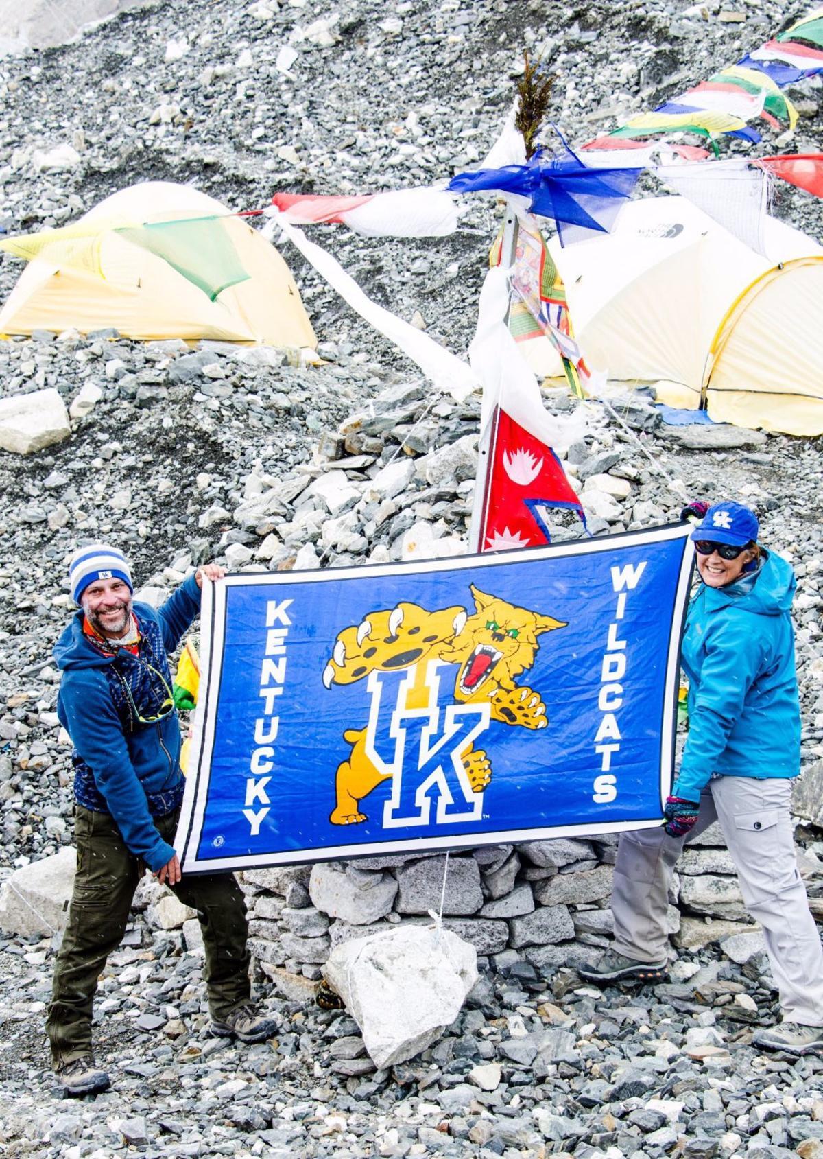 UK fans on Mount Everest