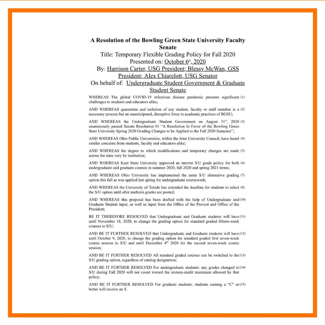 Faculty Senate grading change resolution
