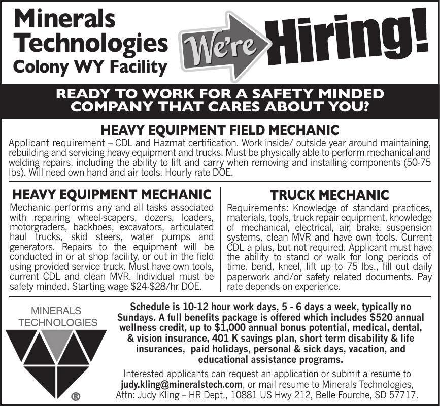 WE'RE HIRING - Minerals Technologies #1