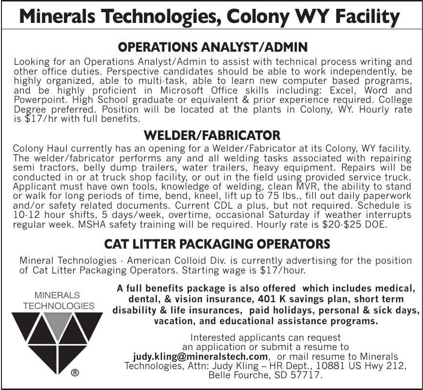 WE'RE HIRING - Minerals Technologies