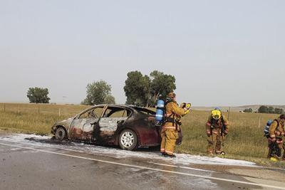 Car aflame on U.S. Highway 85 Friday afternoon
