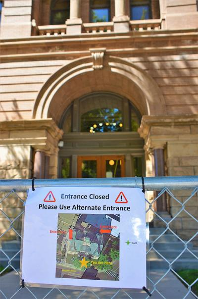 Sherman St. entrance to Lawrence County courthouse closed