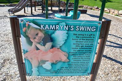 Vandals deface 'Kamryn's Swing' sign in Lead park