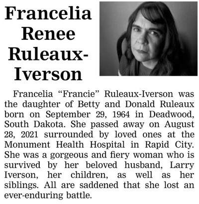 Francelia Renee Ruleaux-Iverson