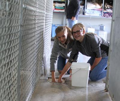 Sturgis girls' soccer team volunteers at the Sturgis animal shelter