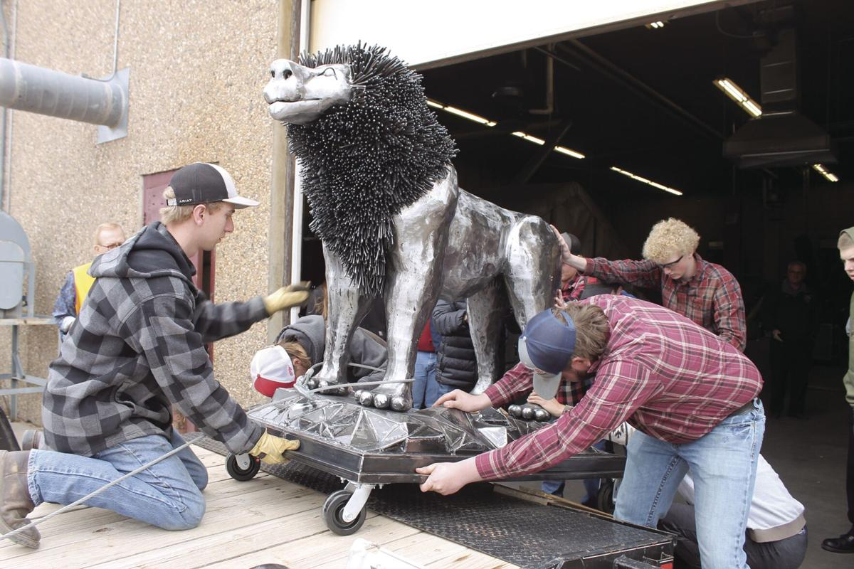 A lion for the Lions: SHS welding students complete statue to Spearfish Lions Club