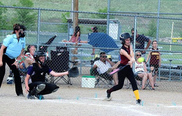Girls' U-12 softball action