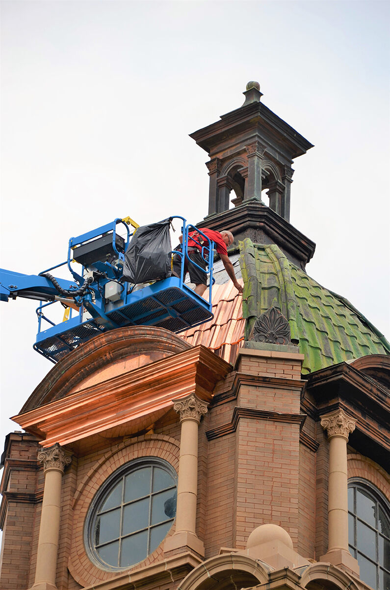 Lawrence Co. courthouse roof transforming from green to golden