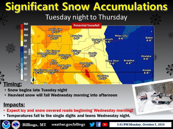 The forecast area for Wednesday's winter storm