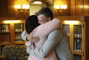 Wyoming man who received face transplant has tearful meeting with wife of donor