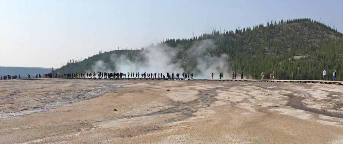 Line of tourists
