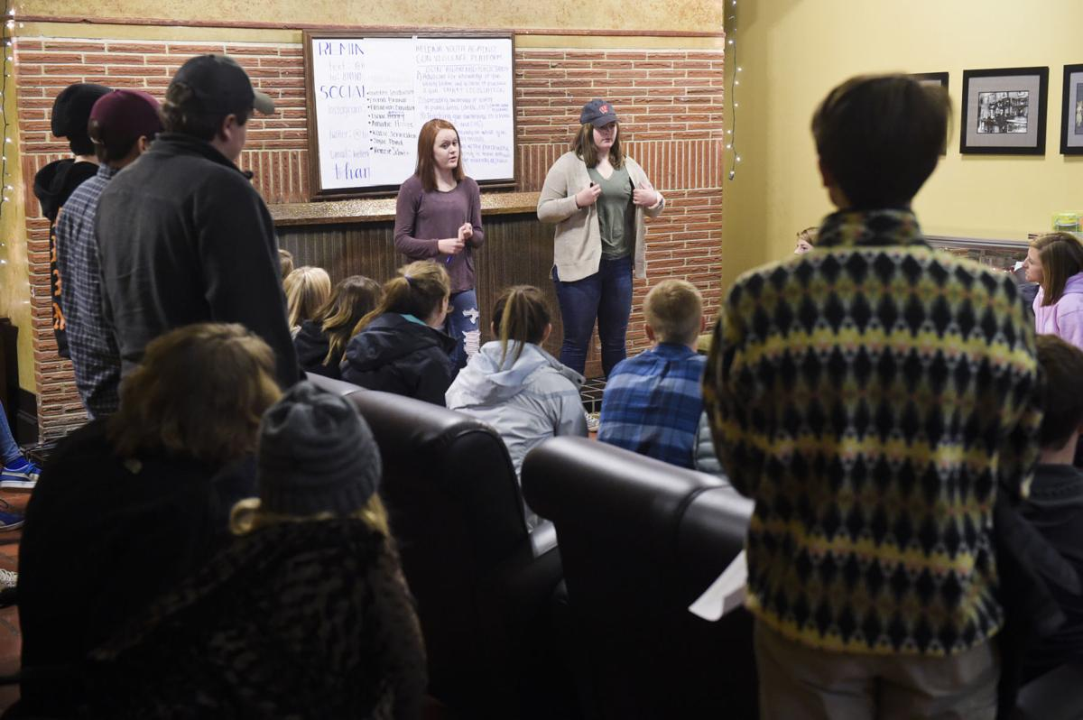 Mariah Thomas and Clara McRae lead the first meeting, Wednesday, of Helena Youth Against Gun Violence