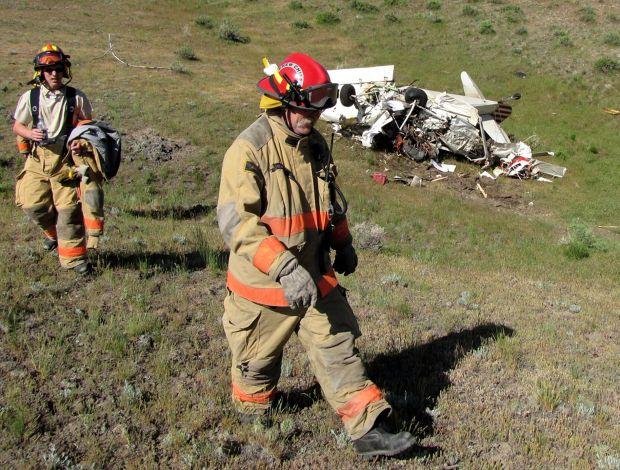 Crews at a plane crash