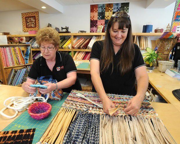 Sue Colley, left, and Sue Hanson, of Trackside Quilting