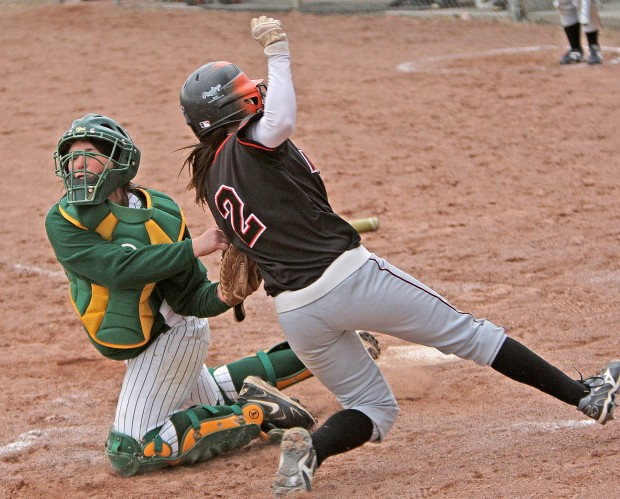 Senior's Cassidy Butler is tagged out