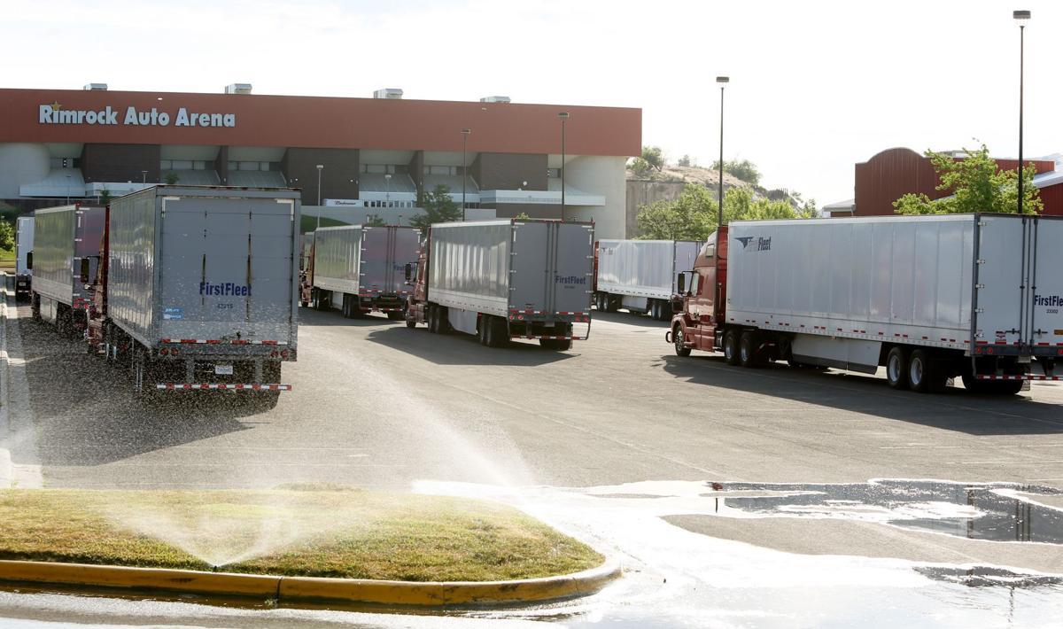 Trucks full of equipment