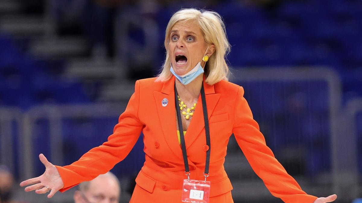 SAN ANTONIO, TEXAS- MARCH 27: Head coach Kim Mulkey of the Baylor Lady Bears reacts during the second half against the Michigan Wolverines in the Sweet Sixteen round of the NCAA Women's Basketball Tournament at the Alamodome on March 27, 2021 in San Antonio, Texas.