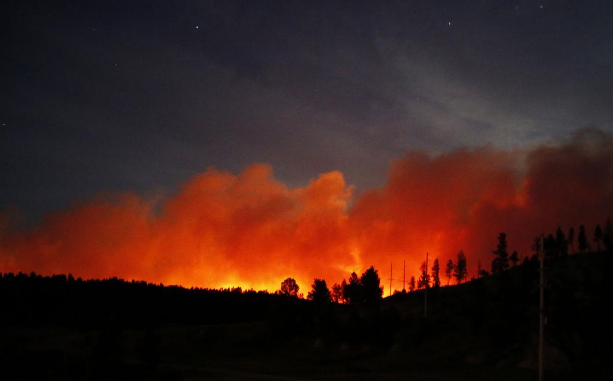 Fire glow near Roundup