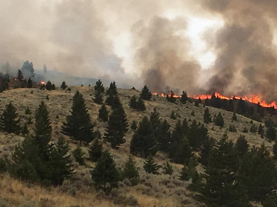 Wildfire burning northwest of Livingston