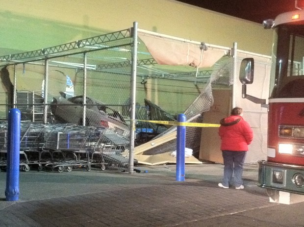 A car crashed into the West End Walmart