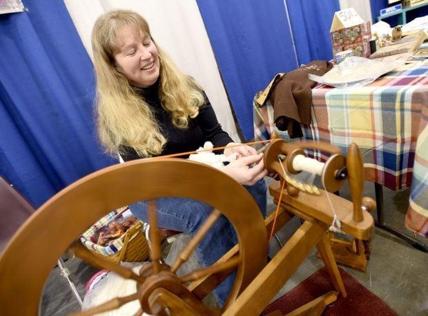 Tammy Jordan spins yarn
