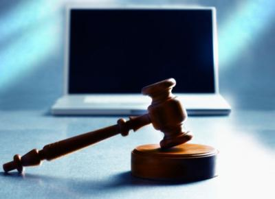 laptop gavel internet crime stockimage