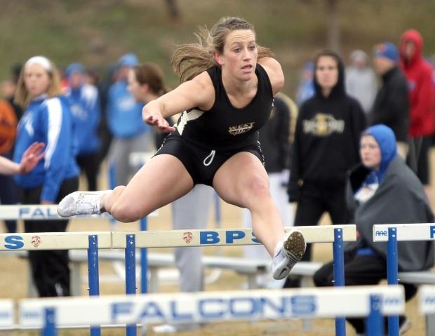 West's Danielle Muri runs the 100 hurdles