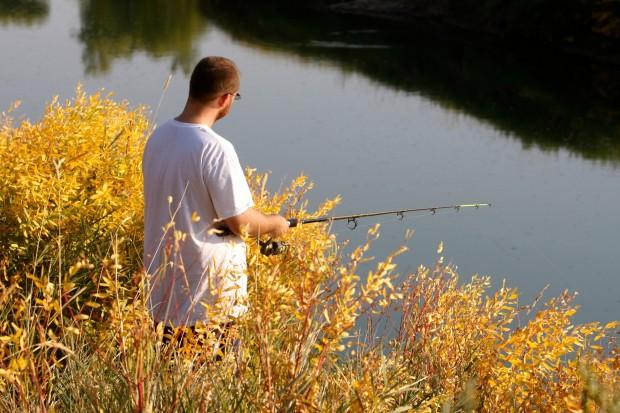 Mark Kapps fishes among the fall foliage