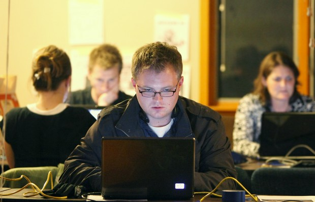 Justin Wutzke and the Billings trivia team search the Internet
