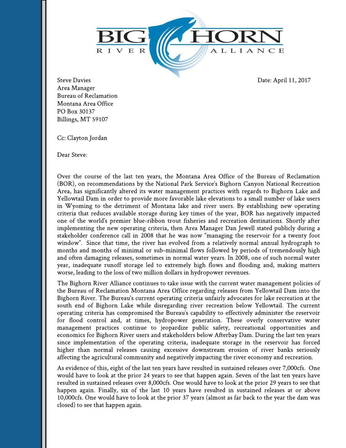 Letter to Bureau of Reclamation