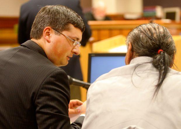 Clark Mathews talks with Edwin Cuch