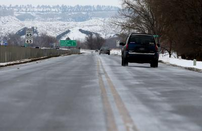Ice-covered South Frontage Road