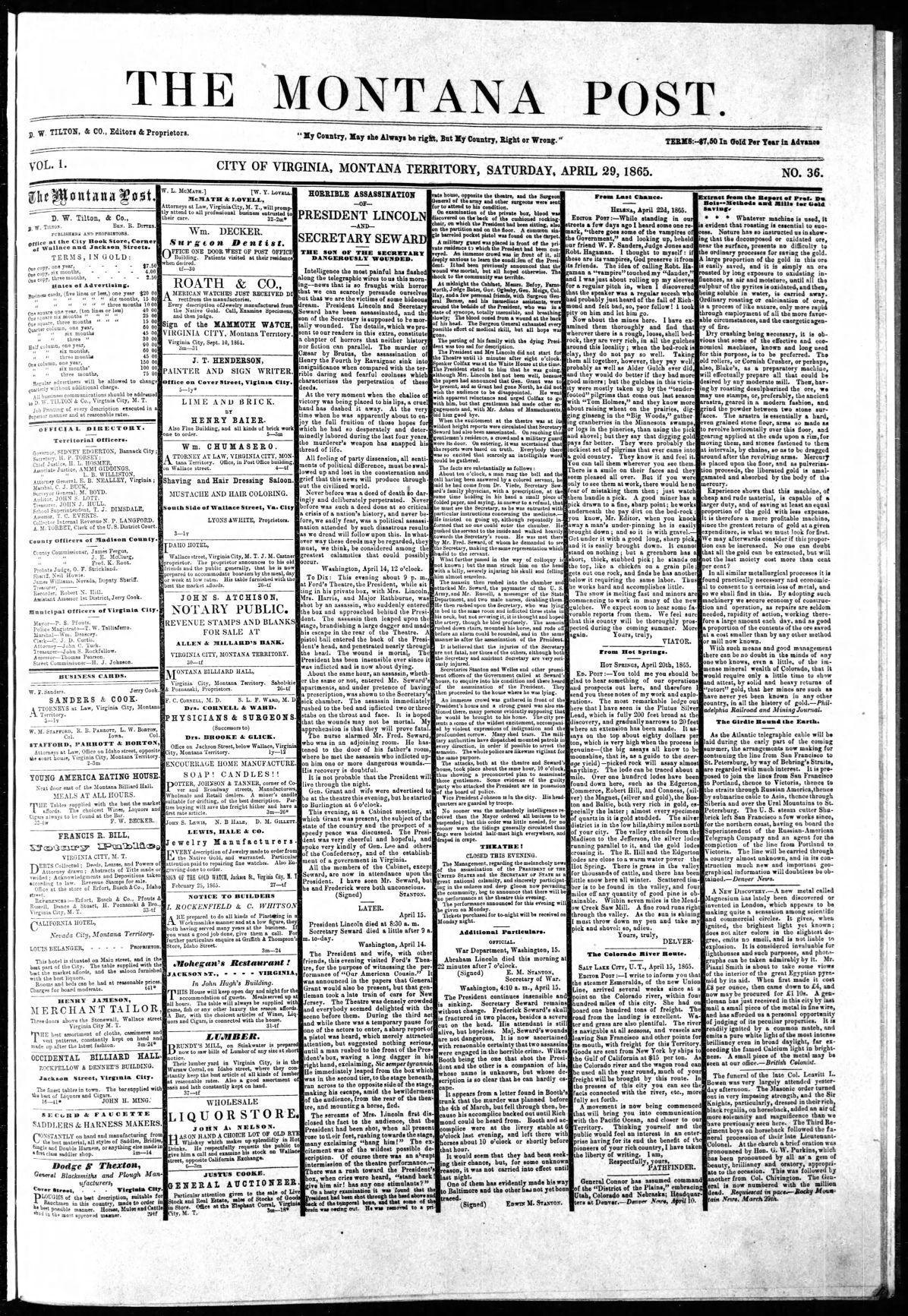Montana Post, Saturday, April 29, 1865 A1