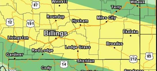 Areas with potential for severe thunderstorms