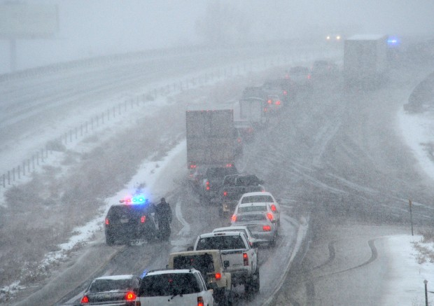 Traffic slows around crashes on I-90