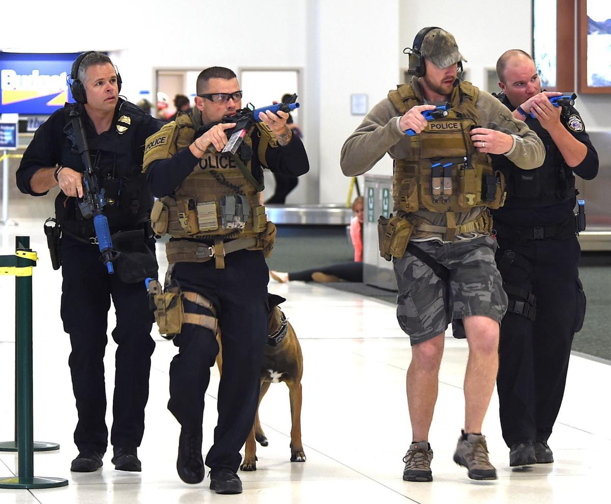 Airport shooting drill officers