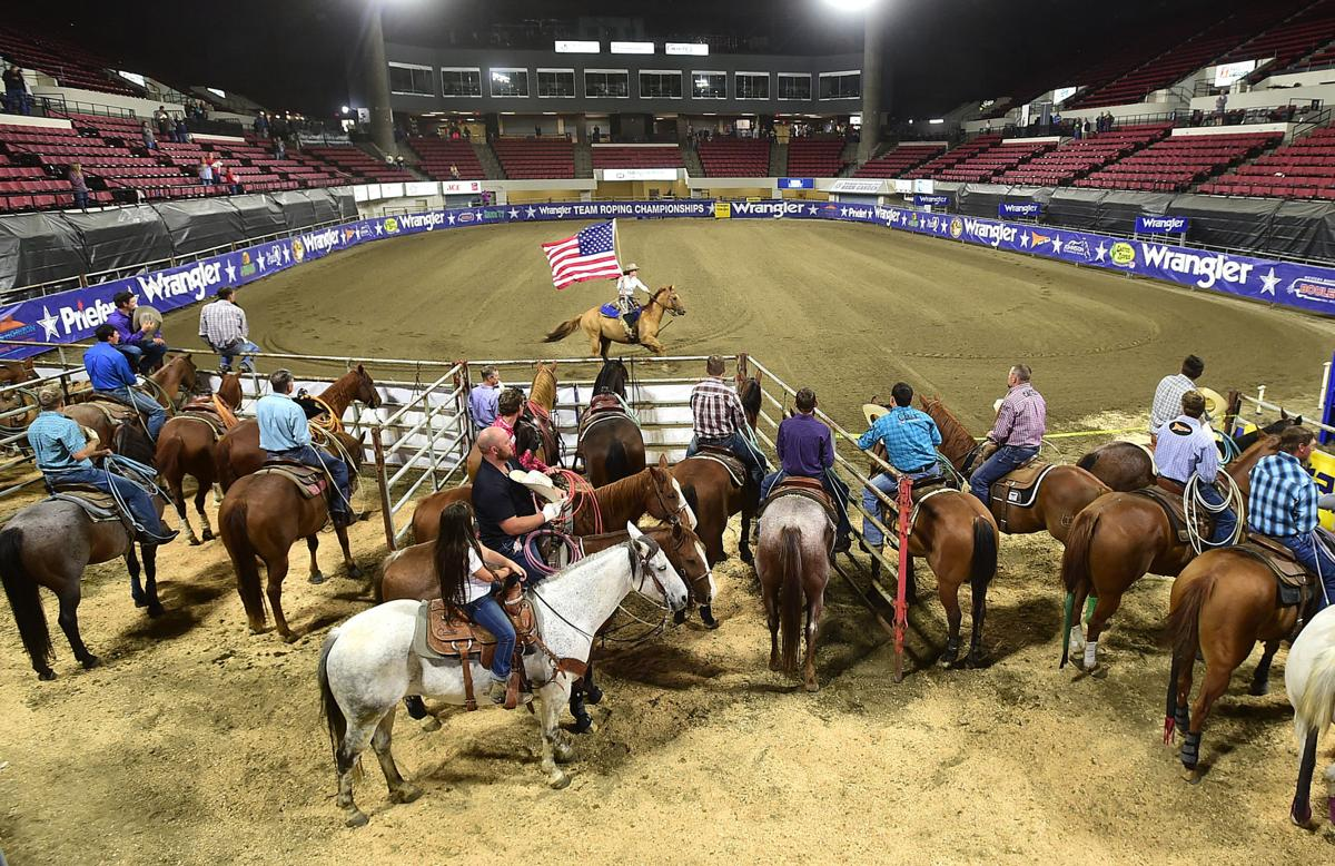 Clay Tryan at the Wrangler National Team Roping Finals