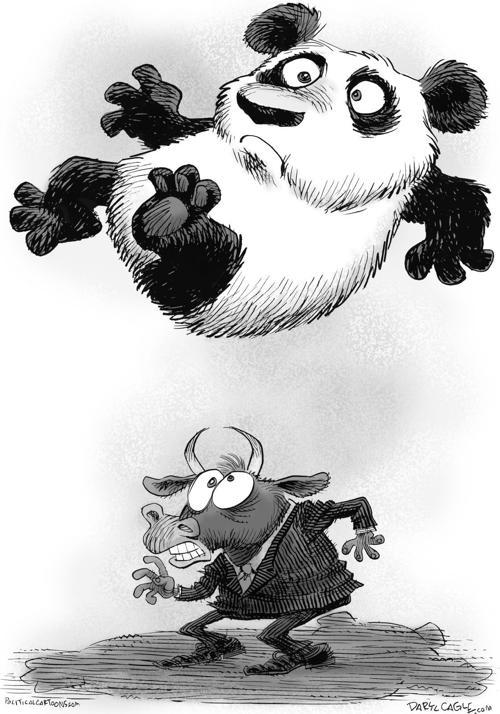 Panda falling