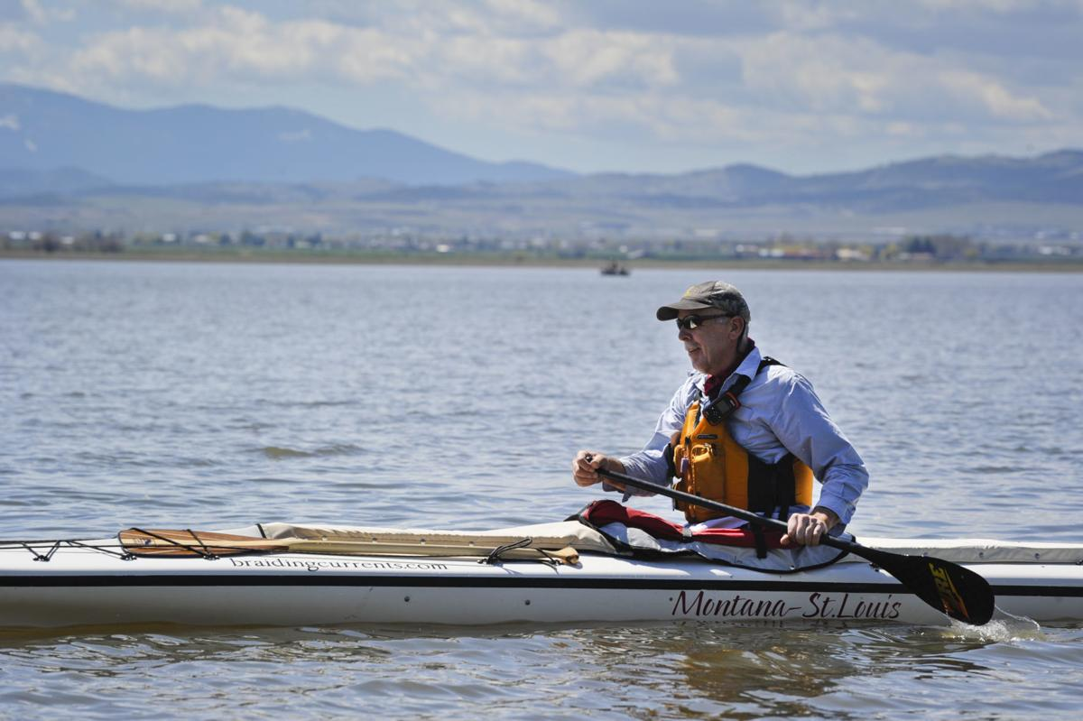 Jim Emanuel paddles across Lake Helena last week
