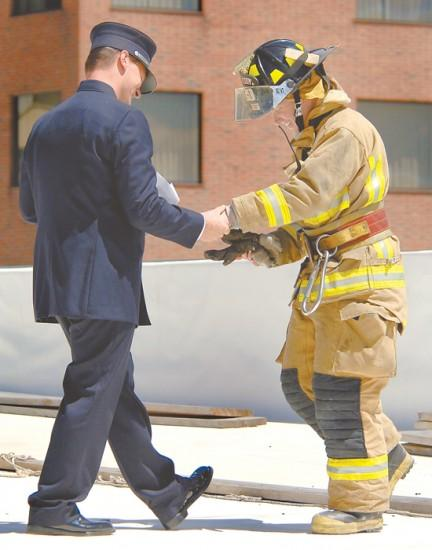 Rooftop proposal fit for a firefighter
