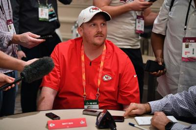 Britt Reid Linebackers coach for the Kansas City Chiefs speaks to the media during the Kansas City Chiefs media availability prior to Super Bowl LIV at the JW Marriott Turnberry on January 29, 2020 in Aventura, Florida.