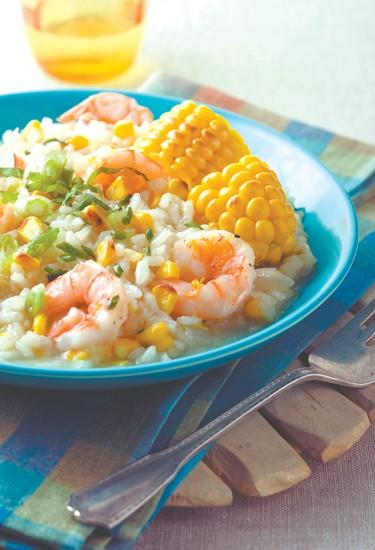 Grilled corn adds distinct flavor to shrimp risotto