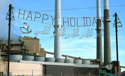 Colstrip Happy Holidays sign